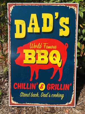 Metal UV Printed Sign- Dad's World Famous BBQ Navy