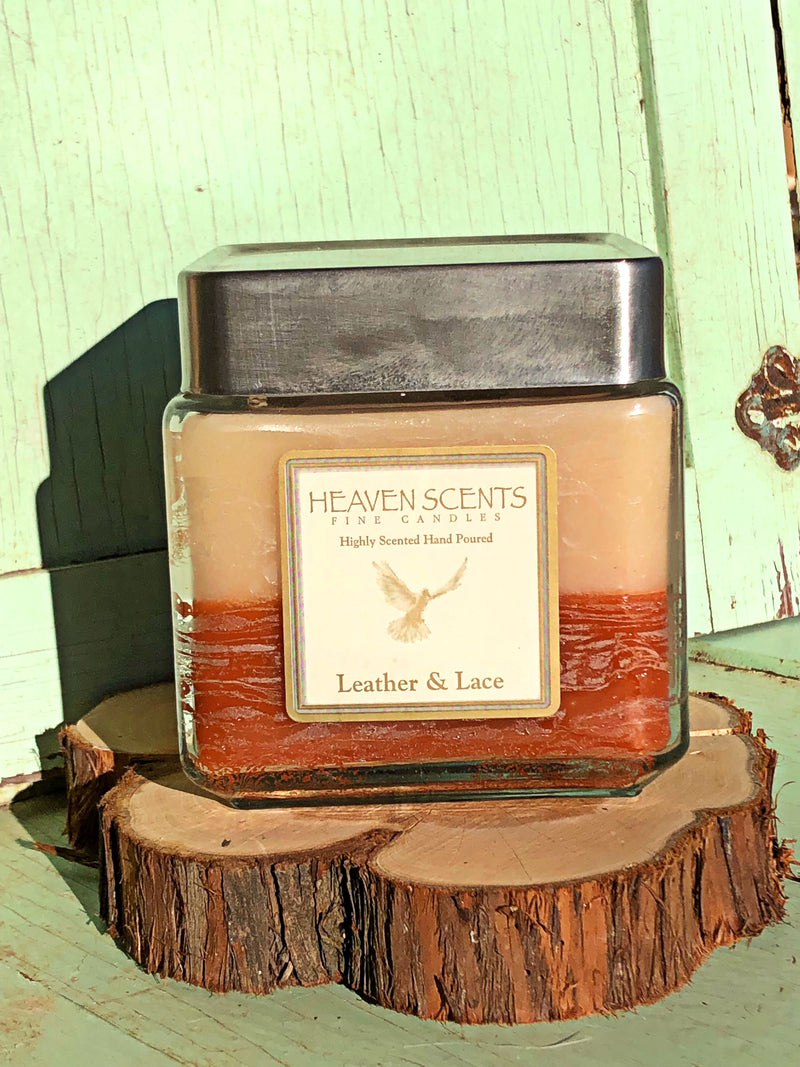 24 oz Candle- Leather & Lace Scent