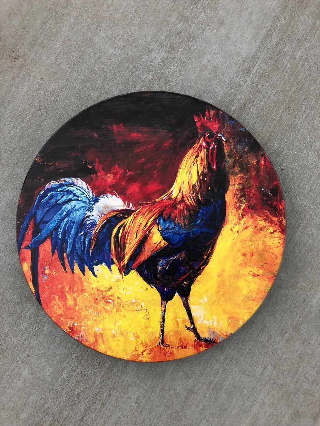 "Handmade Lazy Susan 15""- Rooster Design"