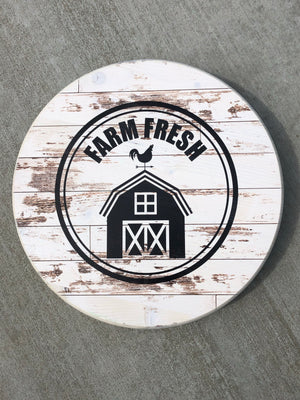 "Handmade Lazy Susan 15"" Farm Fresh- Antique White"