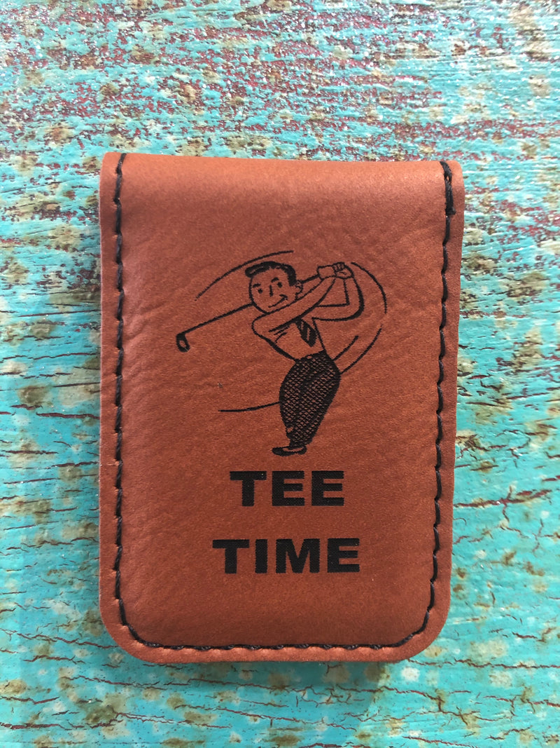 Engraved Magnetic  Money Clip Holder Rawhide Brown-Tee Time Golfer