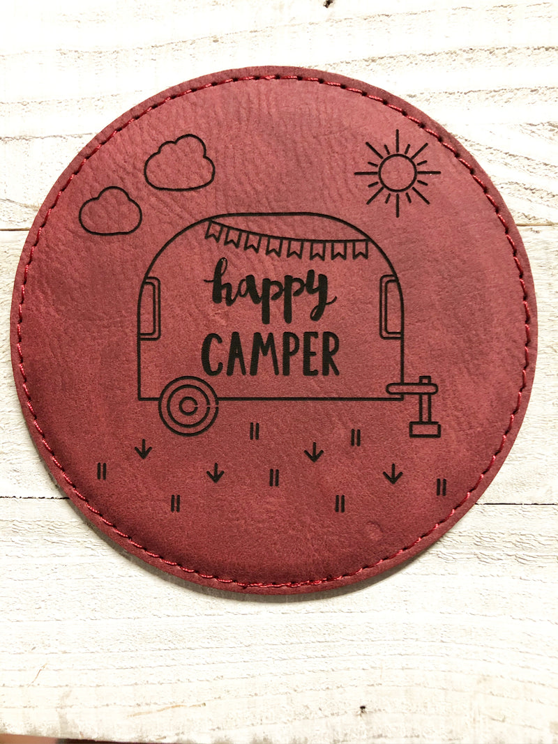 "Engraved 4"" Round Coaster- Happy Camper Maroon"
