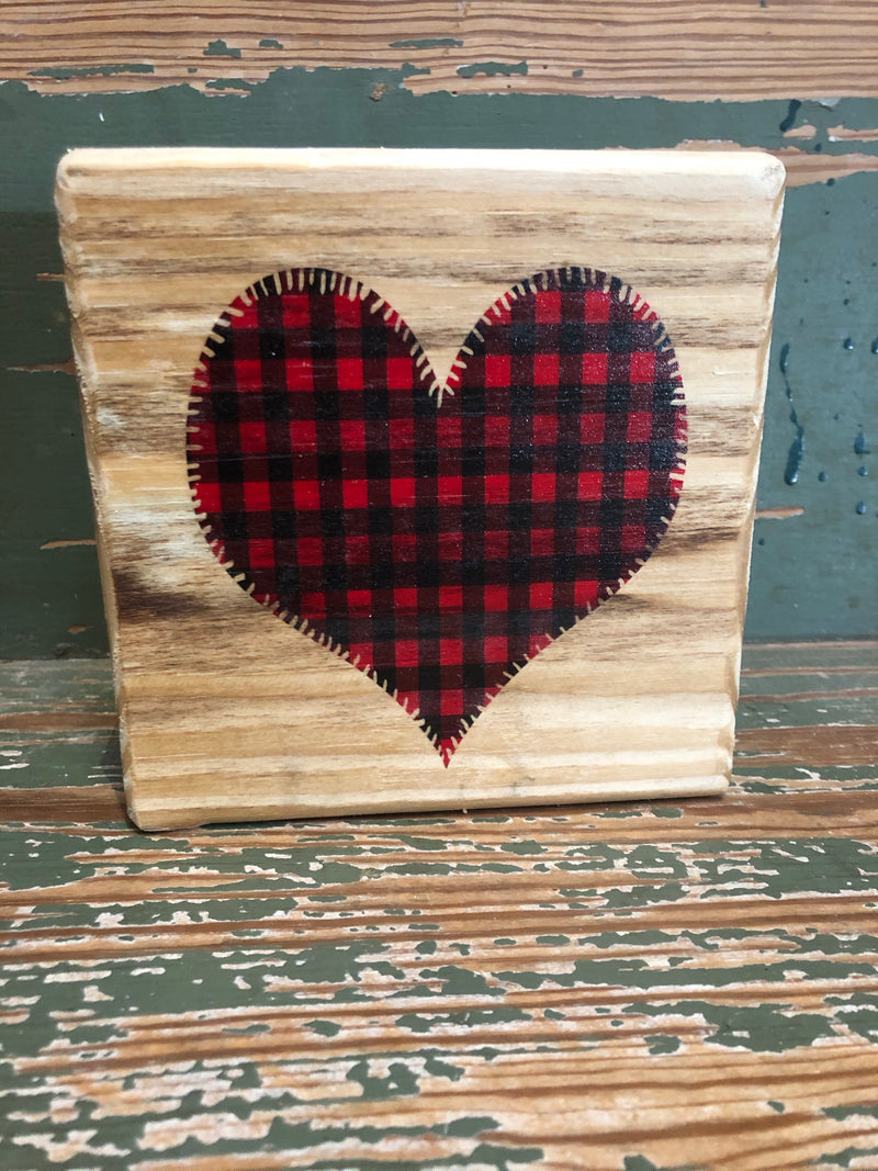 Handmade Décor- Buffalo Plaid heart on natural pine