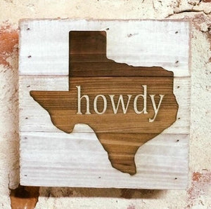 Engraved Decor-Howdy Texas