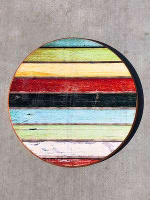 "Handmade Lazy Susan 15""- Rainbow Stripes Barn wood design"