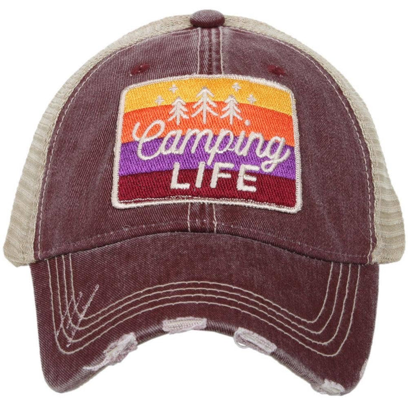 Camping Life Trucker Hat-Wine