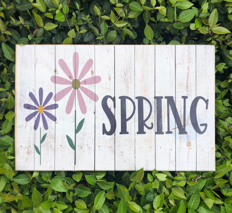 UV Color Handmade Decor-Spring flowers w/ rustic barn wood background