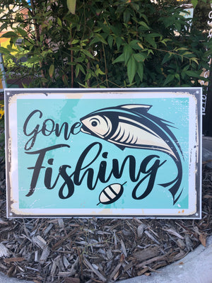 Metal UV Printed Sign- Gone Fishing Large