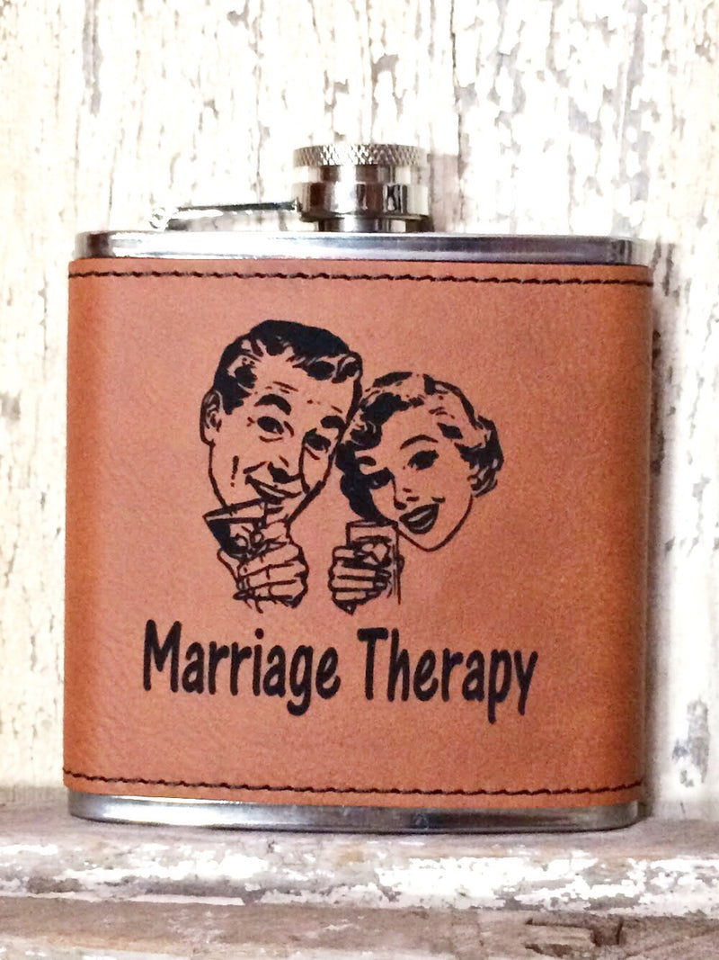 Engraved Stainless Steel 6 oz Flask- Marriage Therapy Dark Brown