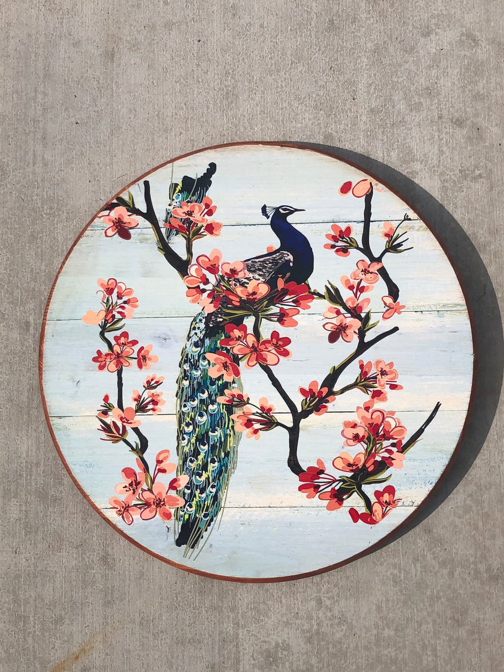 "Handmade Lazy Susan 15""  Floral Single Peacock Design on Baby Blue"