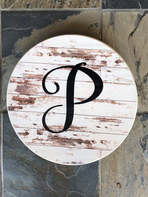 Custom Round Sign-  Antique Barn Wood Background w/Initial