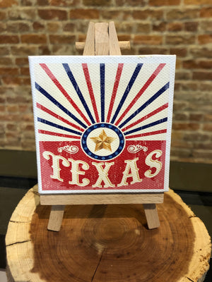 Mini Canvas Signs w/Wooden Easel~TEXAS Red Lone Star