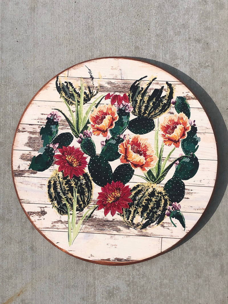 "Handmade Lazy Susan 15"" Floral Cacti Patch - Antique White"