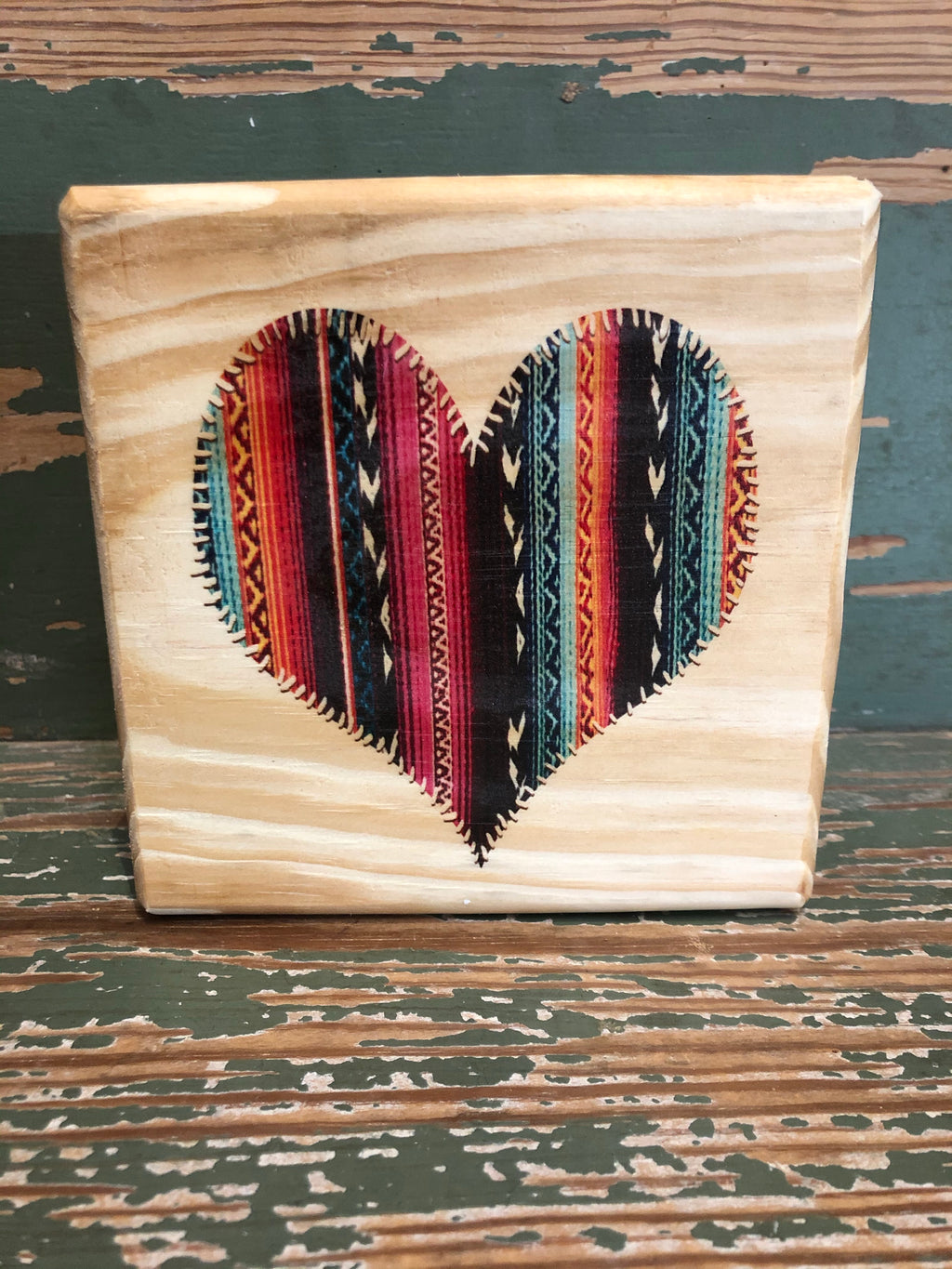 Handmade Décor- Aztec heart on natural pine