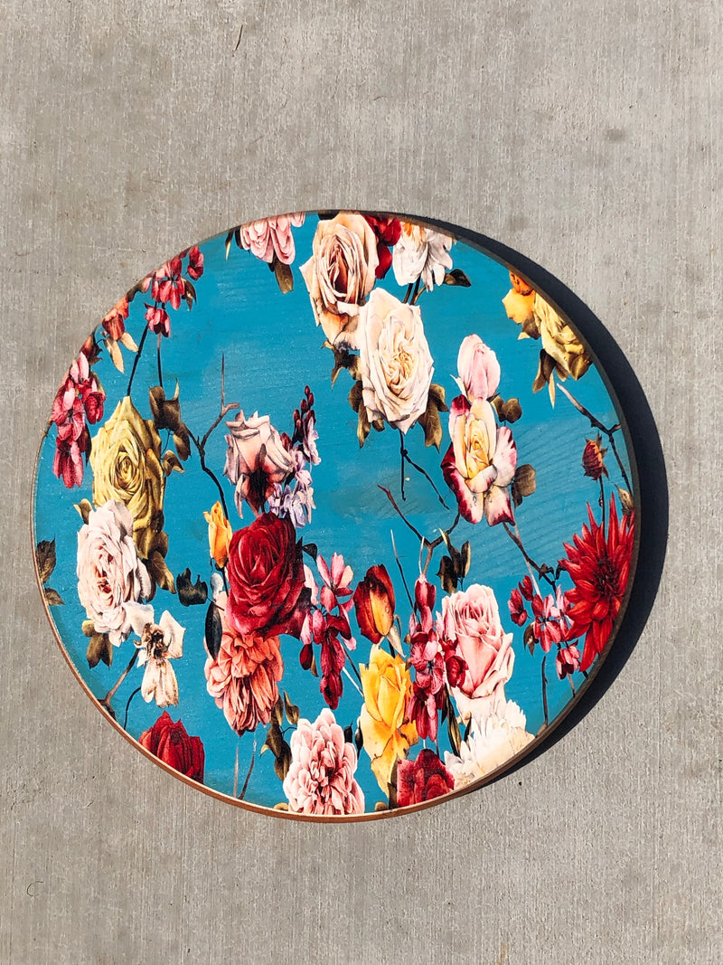 "Handmade Lazy Susan 15""- Blue Rose Garden Design"