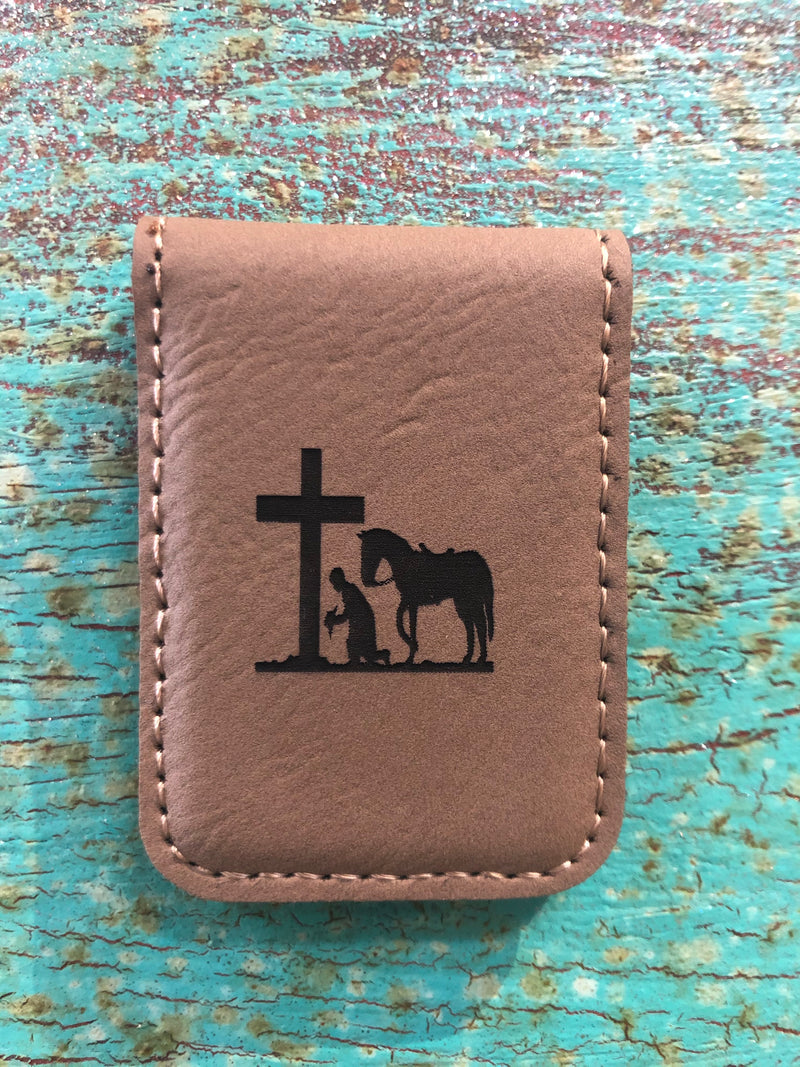Engraved Magnetic Money Clip Holder Light Brown-Praying Cowboy
