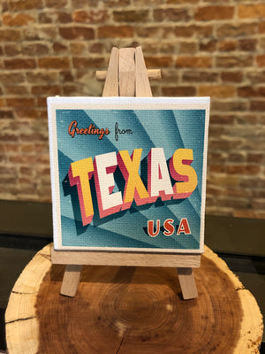 Mini Canvas Signs w/Wooden Easel~Greetings from Texas Retro