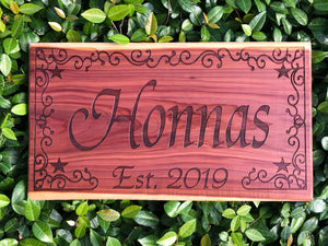 Custom Engraved Cedar Sign - Western Chic Border