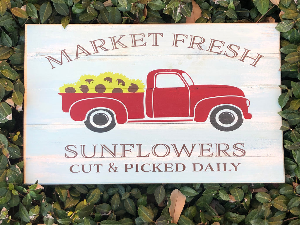 UV Color Handmade Decor- Red Vintage Truck w/Sunflowers