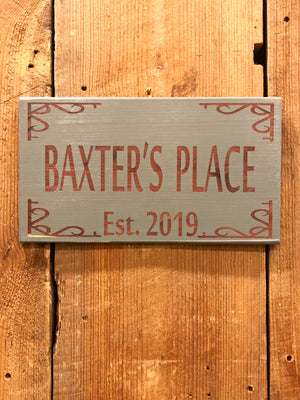 Custom Engraved Cedar Sign - Baxter's Place