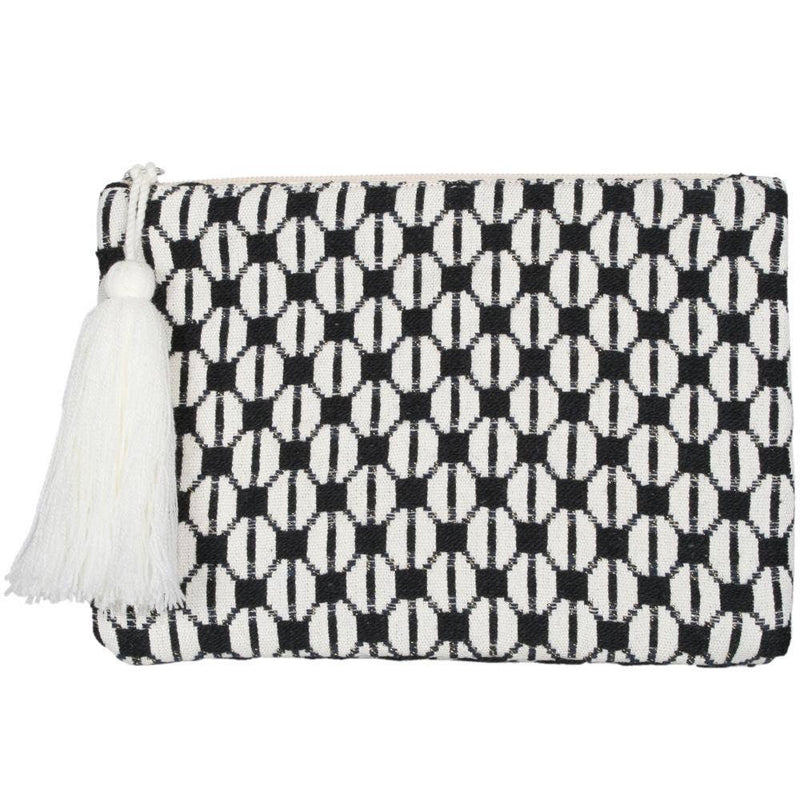 Cream and Black Check Pocketbook or Clutch Purse