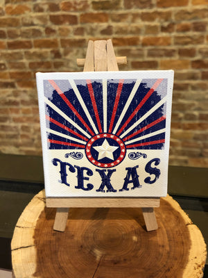 Mini Canvas Signs w/Wooden Easel~TEXAS Blue Lone Star