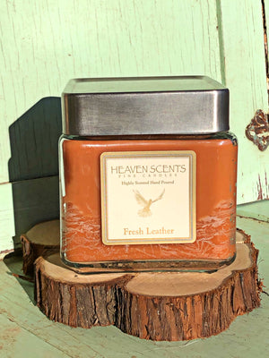 24 oz Candle- Leather Scent