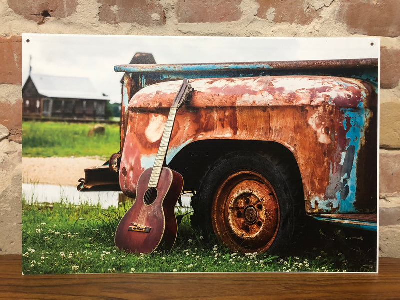 Metal UV Printed Sign- Vintage Truck w/guitar