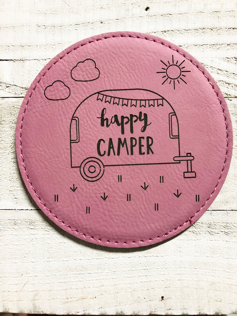 "Engraved 4"" Round Coaster- Happy Camper Pink"