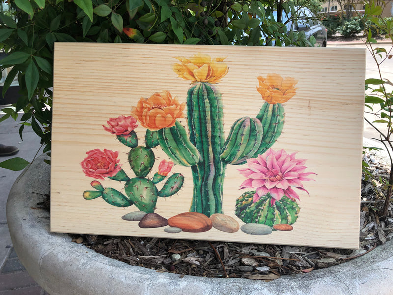 UV Printed Home Decor - Cactus Desert on Natural Pine