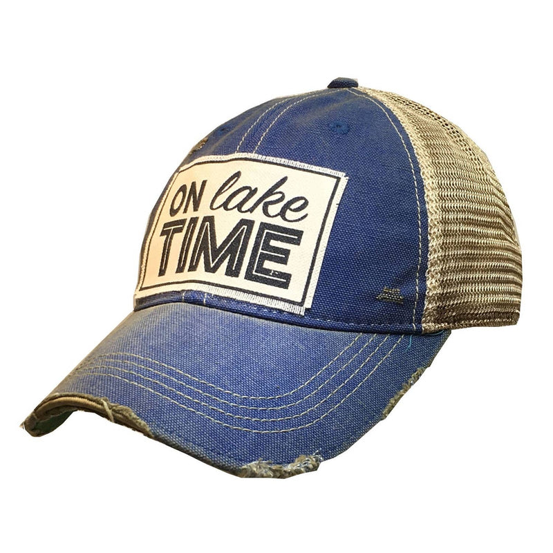 On Lake Time Distressed Trucker Cap