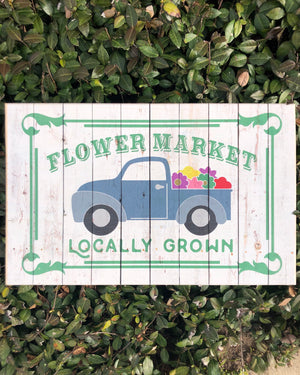 UV Color Handmade Decor-Flower Market w/Vintage Truck