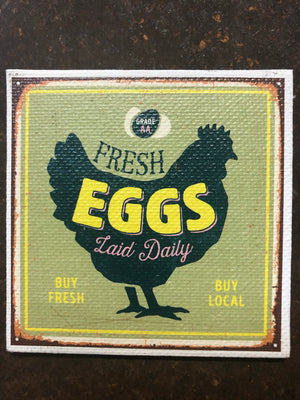 Canvas Magnet-Fresh Eggs Green