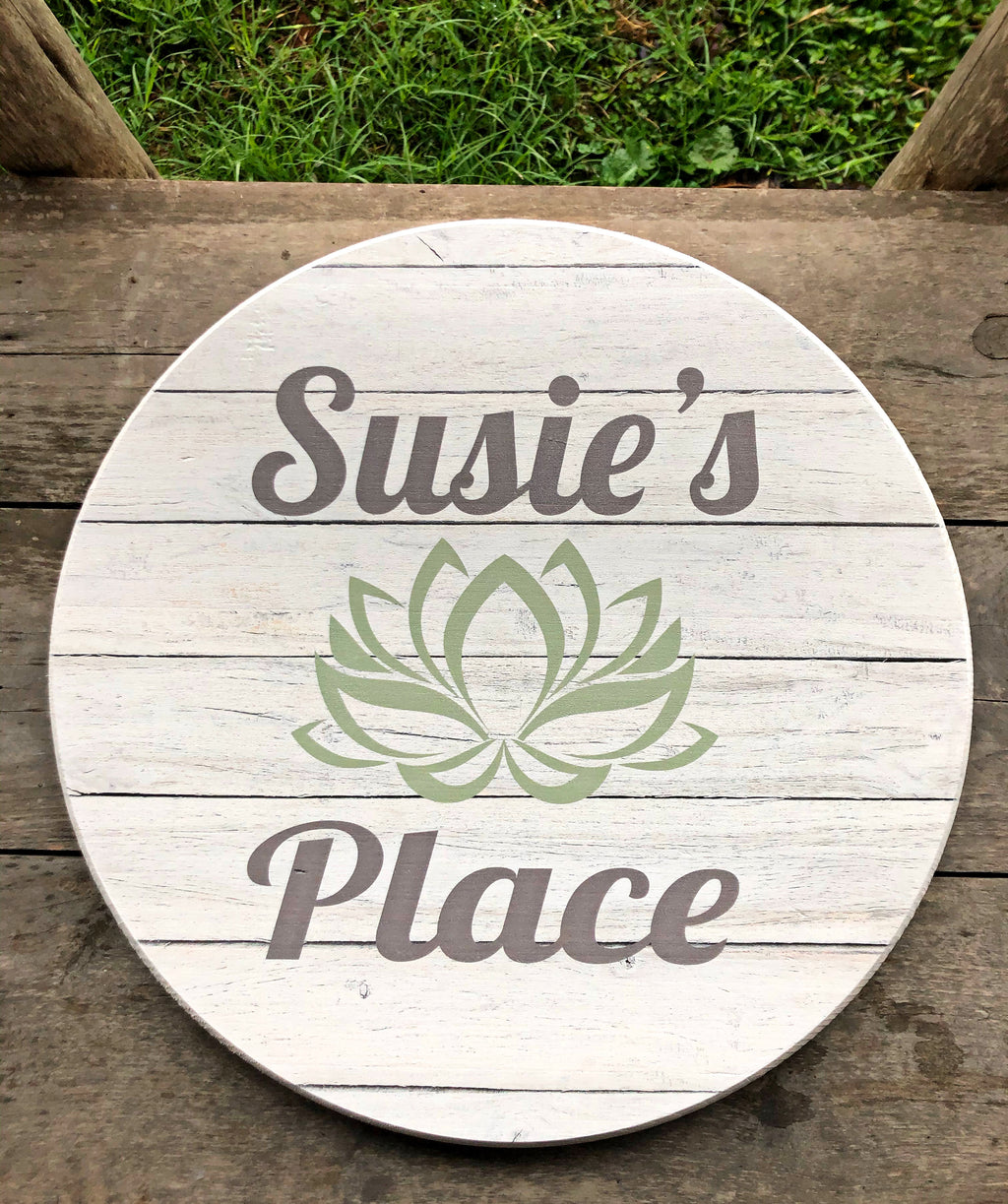 Custom Round Sign-  Light Barn Wood Design w/Lotus Flower