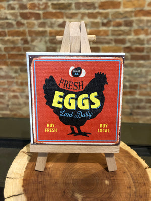 Mini Canvas Signs w/Wooden Easel~FRESH EGGS RED