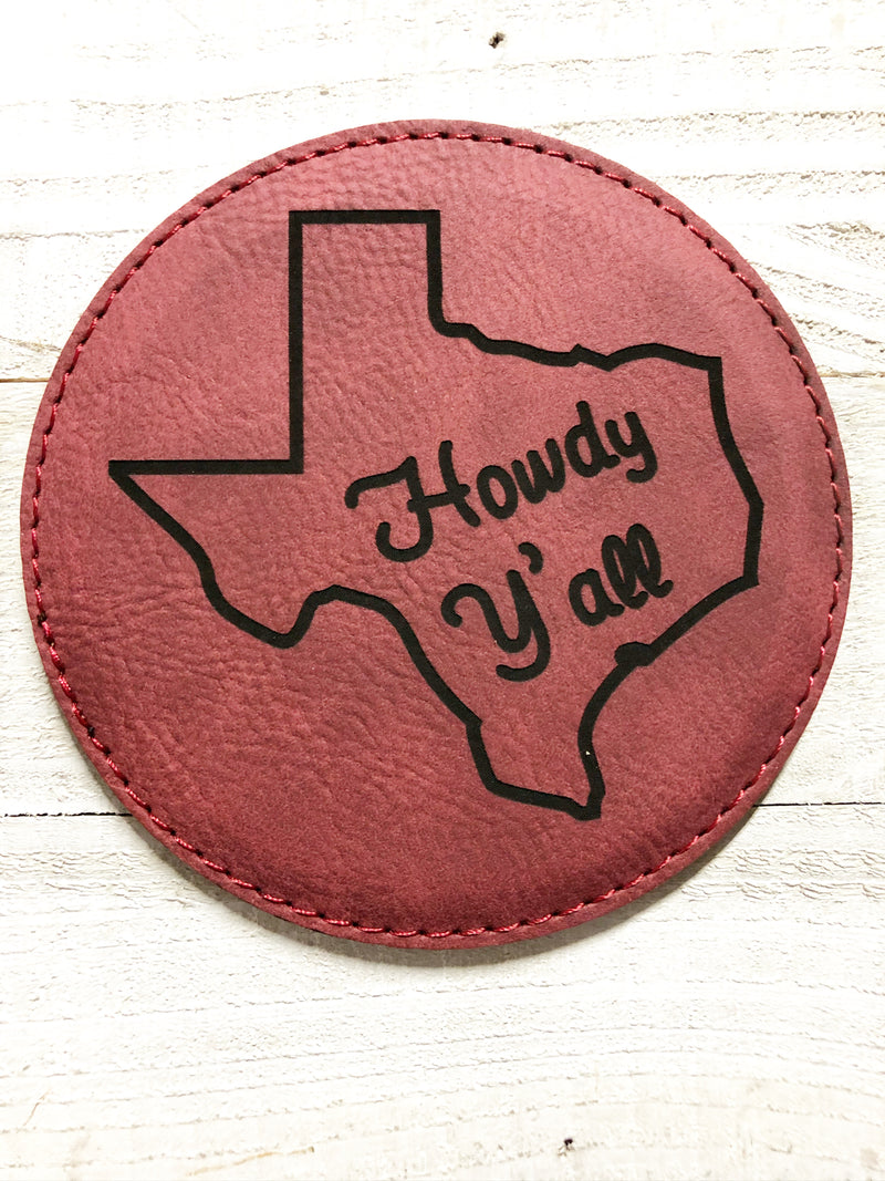 "Engraved 4"" Round Coaster- Howdy Y'all Maroon"