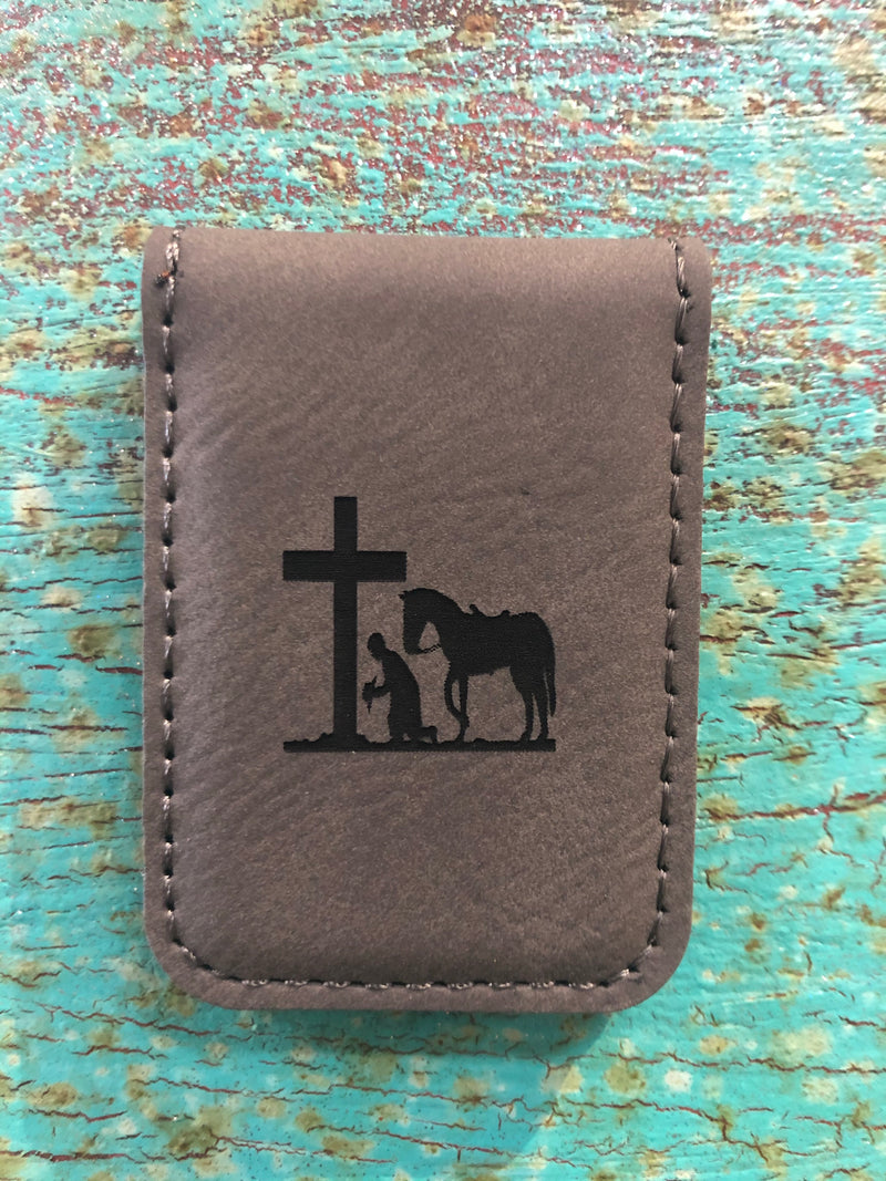 Engraved Magnetic Money Clip Holder Gray-Praying Cowboy