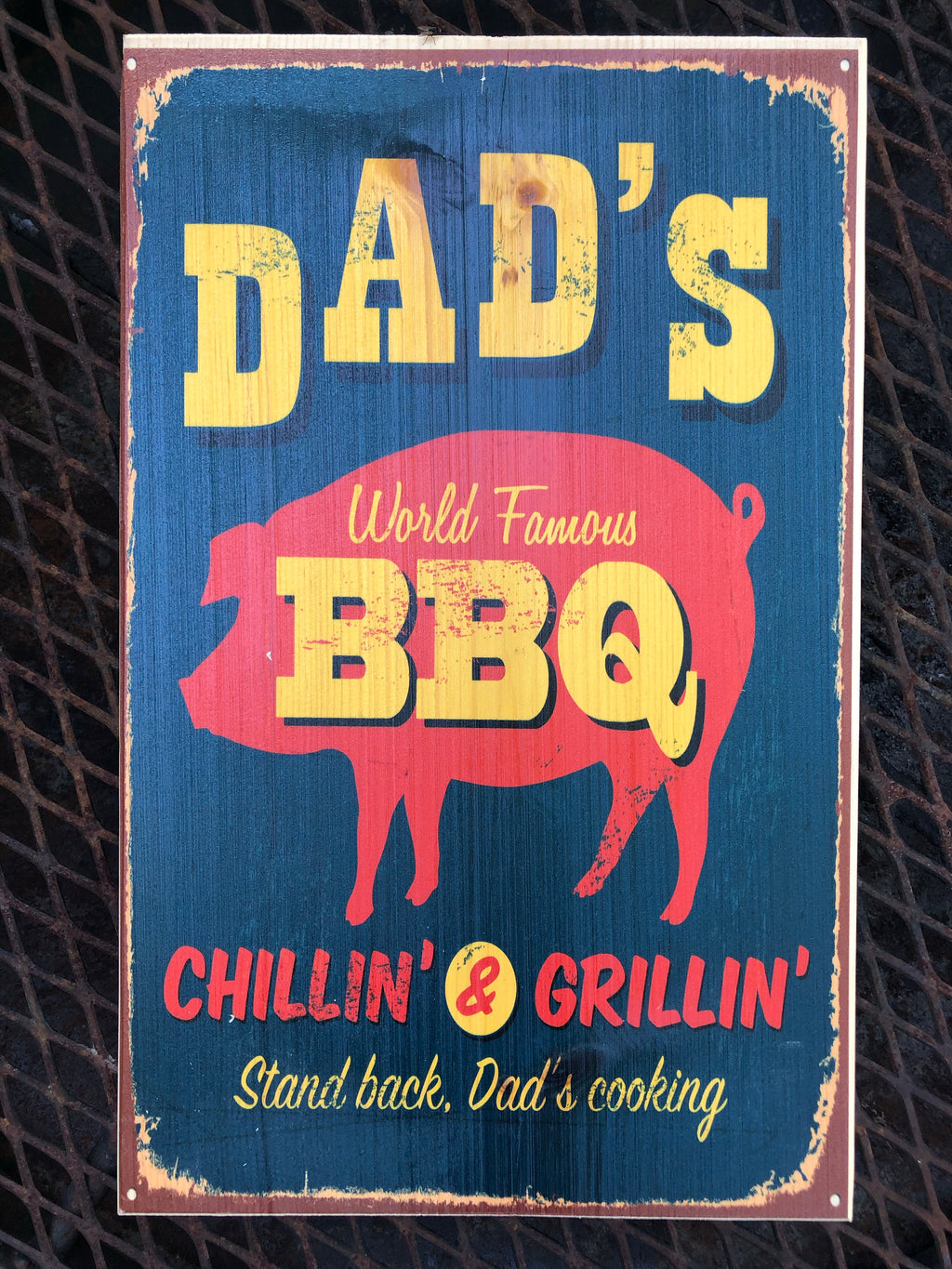 UV Color Handmade Decor-Dad's World Famous BBQ-Navy