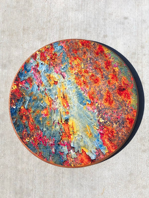 "Handmade Lazy Susan 15""- Rainbow Rust Design"