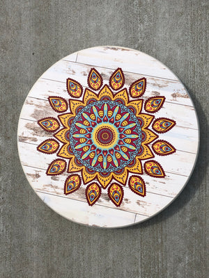 "Handmade Lazy Susan 15""  Boho Pattern Design RRM2-Antique White"