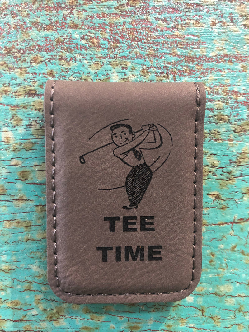 Engraved Magnetic Money Clip Holder Gray-Tee Time Golfer