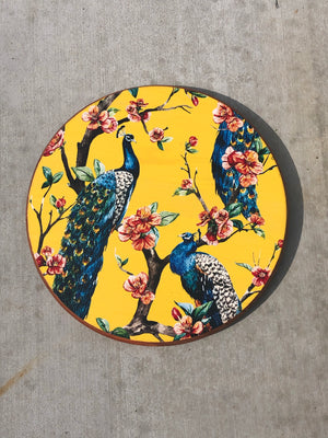 "Handmade Lazy Susan 15""  Floral Peacock Design on Mustard"