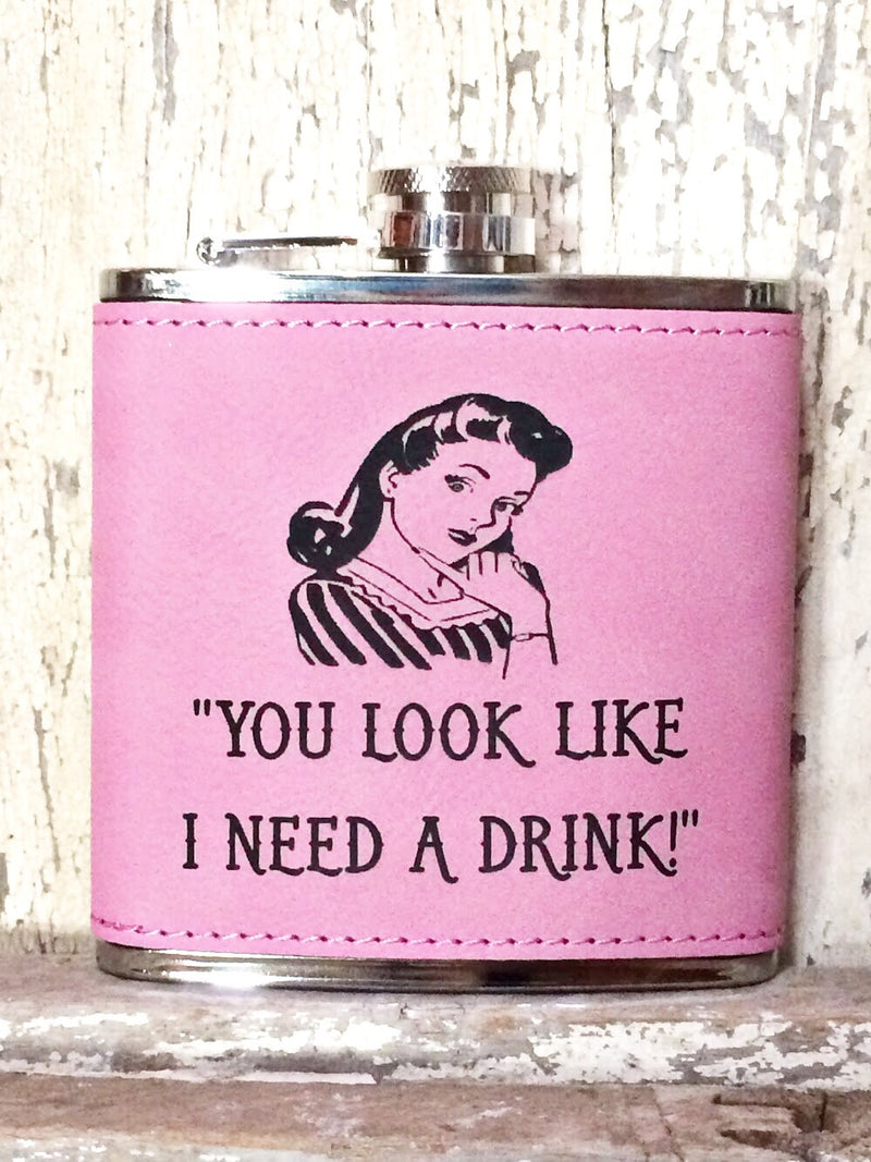 Engraved Stainless Steel 6 oz Flask- I Need a Drink Pink