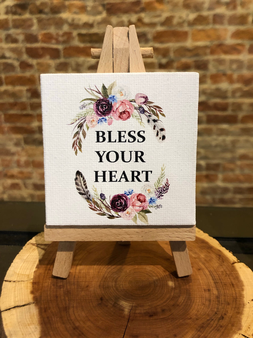 Mini Canvas Signs w/Wooden Easel~Bless Your Heart