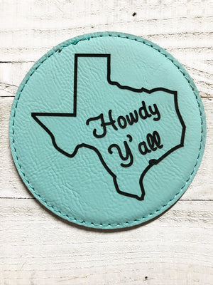 "Engraved 4"" Round Coaster- Howdy Y'all Teal Blue"