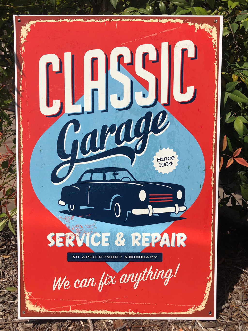 Metal UV Printed Sign- Classic Garage Red