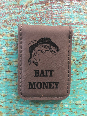 Engraved Magnetic  Money Clip Holder Gray-Bait Money w/ Fish