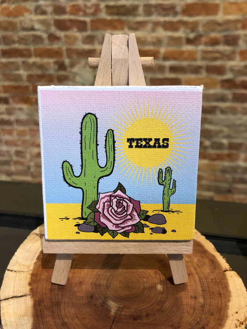 Mini Canvas Signs w/Wooden Easel~TEXAS DESERT w/ Cactus