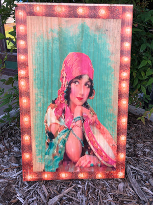 UV Color Handmade Decor-Tambourine Gypsy Gal