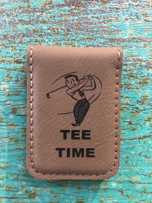 Engraved Magnetic  Money Clip Holder Light Brown-Tee Time Golfer